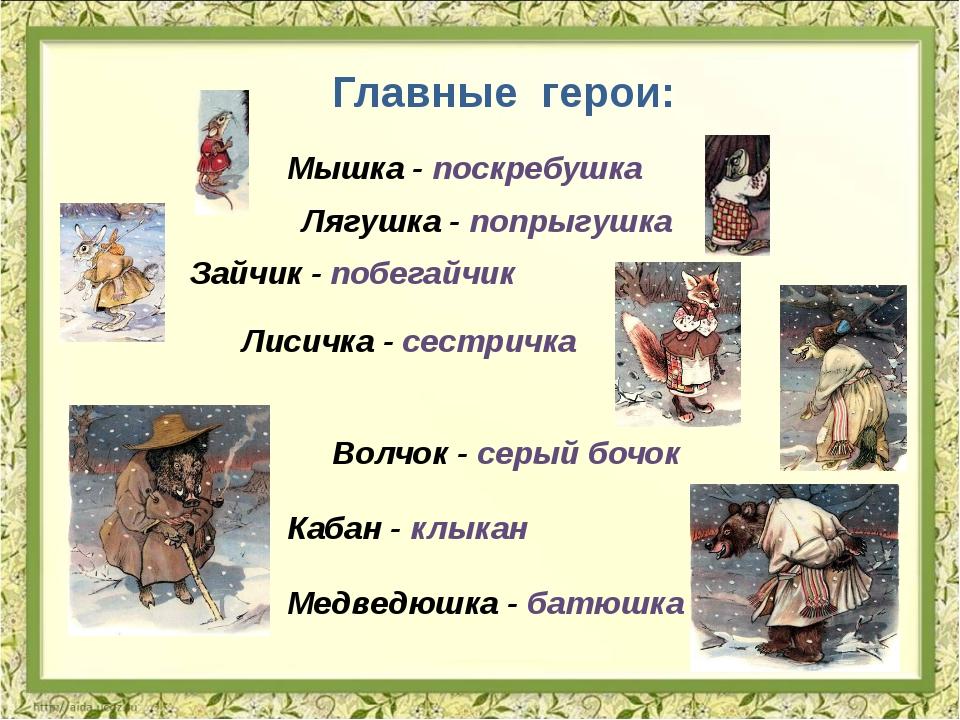 Главные герои: Мышка - поскребушка Лягушка - попрыгушка Зайчик - побегайчик...