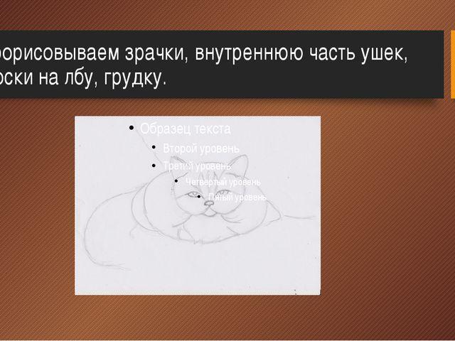 3.Прорисовываем зрачки, внутреннюю часть ушек, полоски на лбу, грудку.