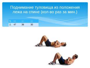 Поднимание туловища из положения лежа на спине (кол-во раз за мин.) 1. --- --