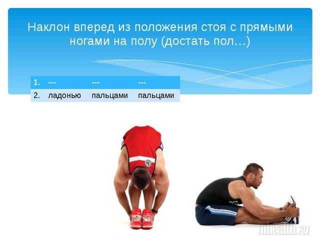 Наклон вперед из положения стоя с прямыми ногами на полу (достать пол…) 1. --...