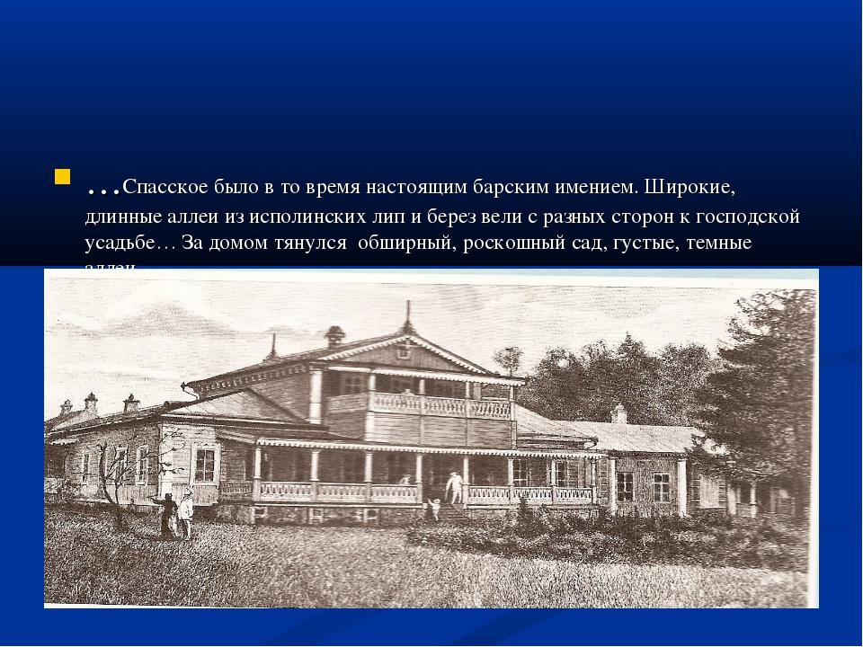 …Спасское было в то время настоящим барским имением. Широкие, длинные аллеи и...