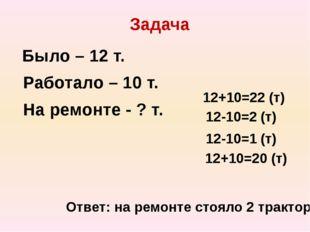 Задача Было – 12 т. Работало – 10 т. На ремонте - ? т. 12+10=22 (т) 12-10=2 (