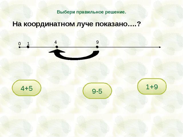 9-5 4+5 1+9 Выбери правильное решение. На координатном луче показано….? 0 1 4 9