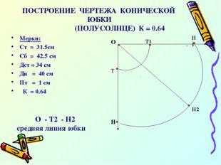 ПОСТРОЕНИЕ ЧЕРТЕЖА КОНИЧЕСКОЙ ЮБКИ (ПОЛУСОЛНЦЕ) К = 0.64 Мерки: Ст = 31.5см С