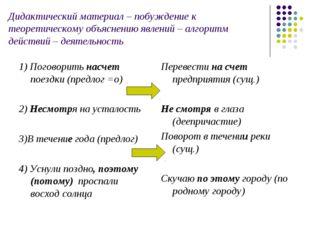 Дидактический материал – побуждение к теоретическому объяснению явлений – алг