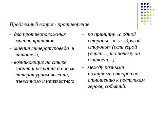 Проблемный вопрос- противоречие - два противоположных мнения критиков; - мнен...
