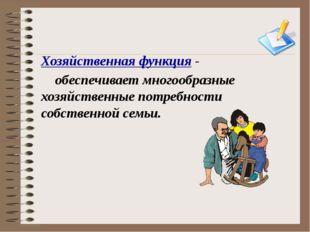 Хозяйственная функция - обеспечивает многообразные хозяйственные потребности
