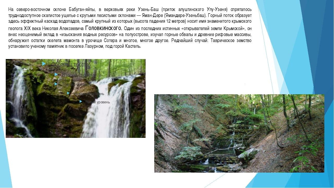 На северо-восточном склоне Бабуган-яйлы, в верховьях реки Узень-Баш (приток а...