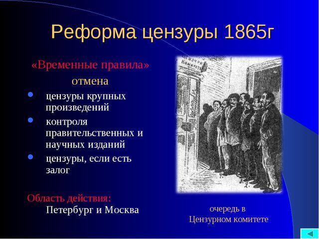 Реформа цензуры 1865г «Временные правила» отмена цензуры крупных произведений...