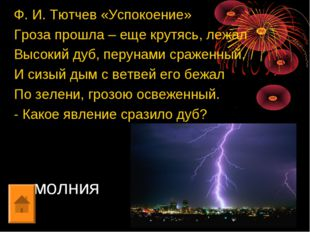молния Ф. И. Тютчев «Успокоение» Гроза прошла – еще крутясь, лежал Высокий ду