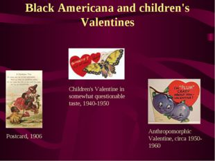 Black Americana and children's Valentines Postcard, 1906 Children's Valentine