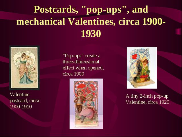 "Postcards, ""pop-ups"", and mechanical Valentines, circa 1900-1930 Valentine po..."