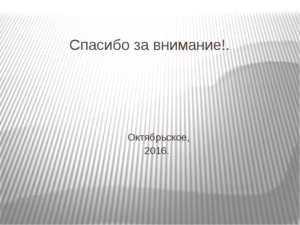 Спасибо за внимание!. Октябрьское, 2016.