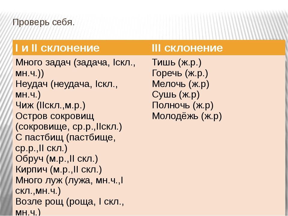 Проверь себя. IиIIсклонение IIIсклонение Много задач (задача,Iскл.,мн.ч.)) Не...