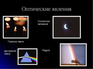 Оптические явления Горение свечи Солнечное затмение Радуга Дисперсия света