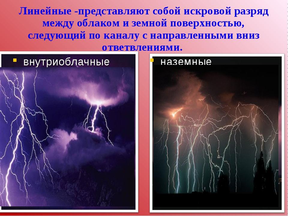 Линейные -представляют собой искровой разряд между облаком и земной поверхнос...