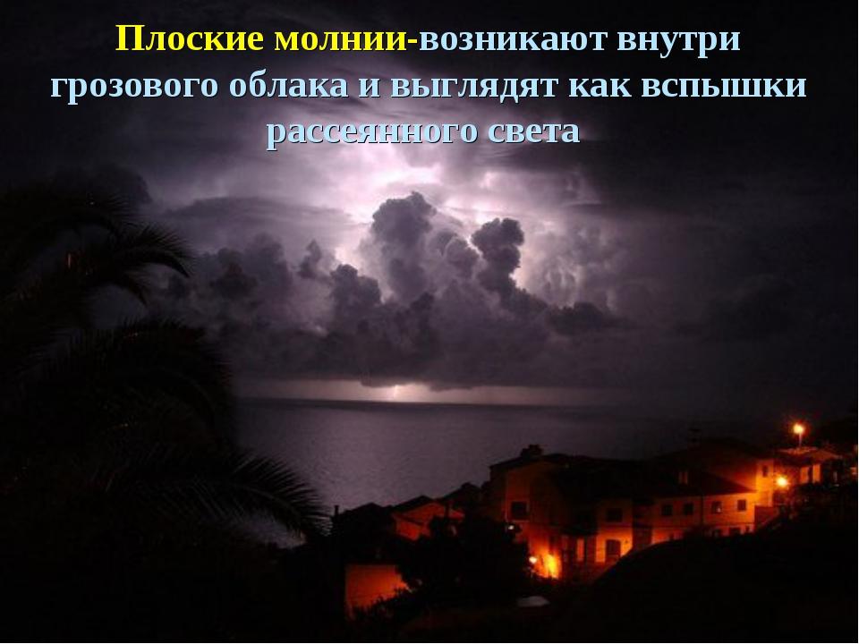 Плоские молнии-возникают внутри грозового облака и выглядят как вспышки рассе...