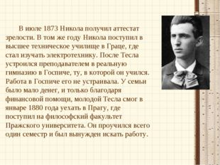 В июле 1873 Никола получил аттестат зрелости. В том же году Никола поступил в