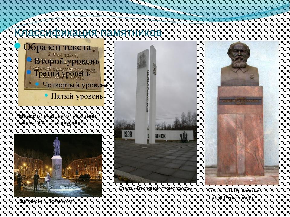 Классификация памятников Мемориальная доска на здании школы №8 г. Северодвинс...