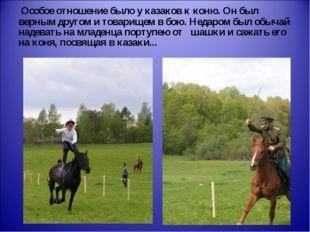 Особое отношение было у казаков к коню. Он был верным другом и товарищем в б