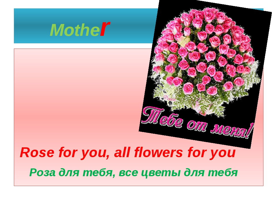 Mother Rose for you, all flowers for you Роза для тебя, все цветы для тебя
