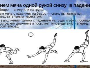 Прием мяча одной рукой снизу в падении на бедро — спину или на грудь. Прием