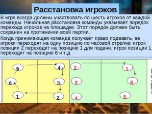 Расстановка игроков В игре всегда должны участвовать по шесть игроков от каж