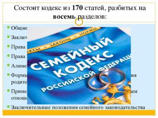 Состоит кодекс из 170 статей, разбитых на восемь разделов: Общие положения За
