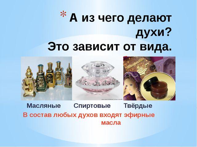 Масляные Спиртовые Твёрдые В состав любых духов входят эфирные масла А из че...