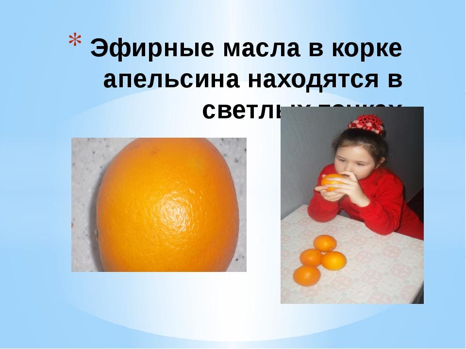 Эфирные масла в корке апельсина находятся в светлых точках