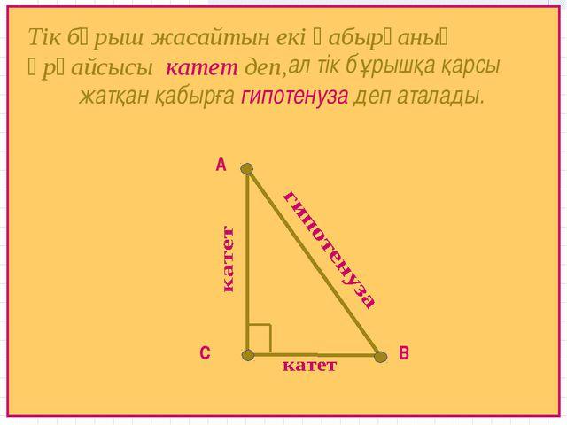 А В С Тік бұрыш жасайтын екі қабырғаның әрқайсысы катет деп, ал тік бұрышқа қ...