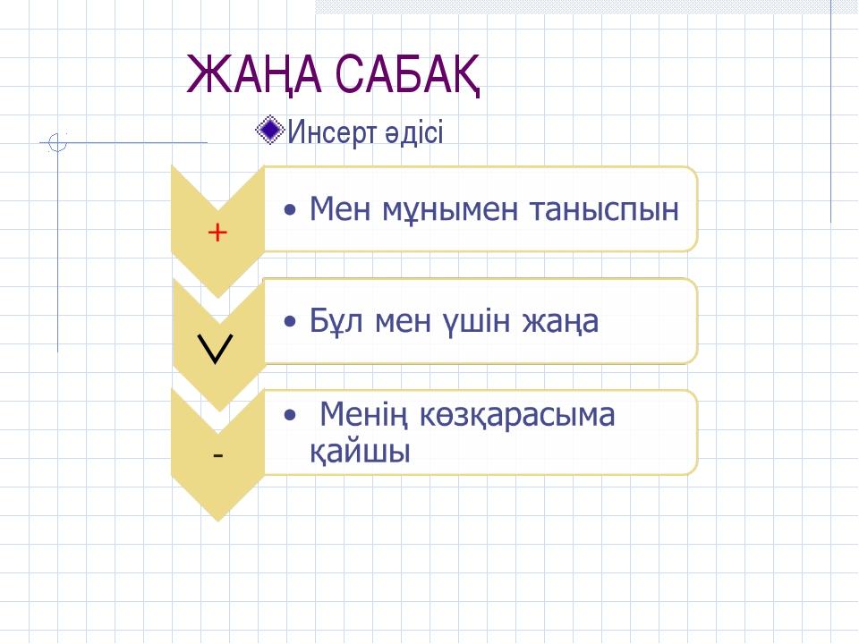 ЖАҢА САБАҚ Инсерт әдісі