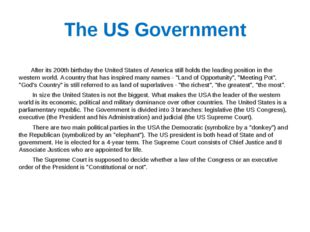 The US Government After its 200th birthday the United States of America still
