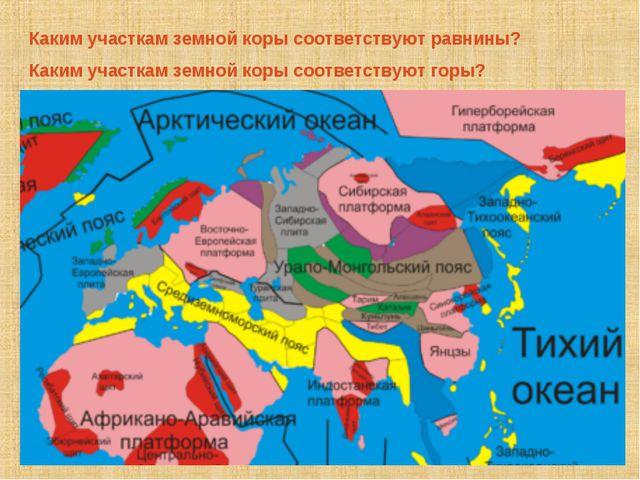 Каким участкам земной коры соответствуют равнины? Каким участкам земной коры...