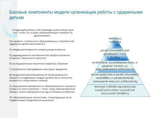 Базовые компоненты модели организации работы с одаренными детьми Следующий ур