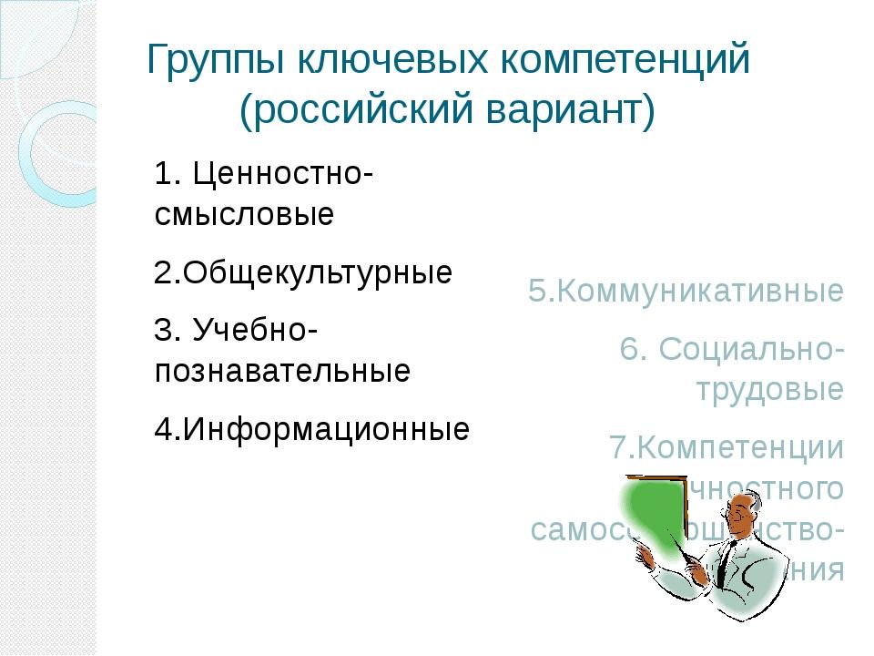 Группы ключевых компетенций (российский вариант) 1. Ценностно-смысловые 2.Общ...