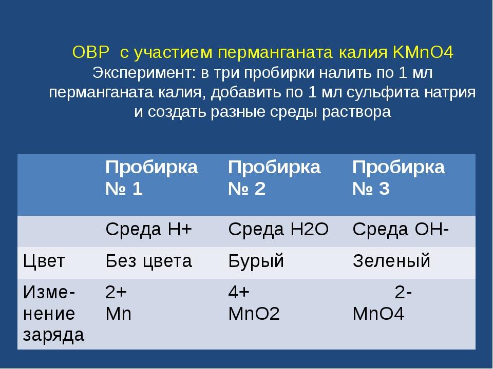 ОВР с участием перманганата калия KMnO4 Эксперимент: в три пробирки налить по...