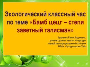 Экологический классный час по теме «Бамб цецг – степи заветный талисман» Эрд