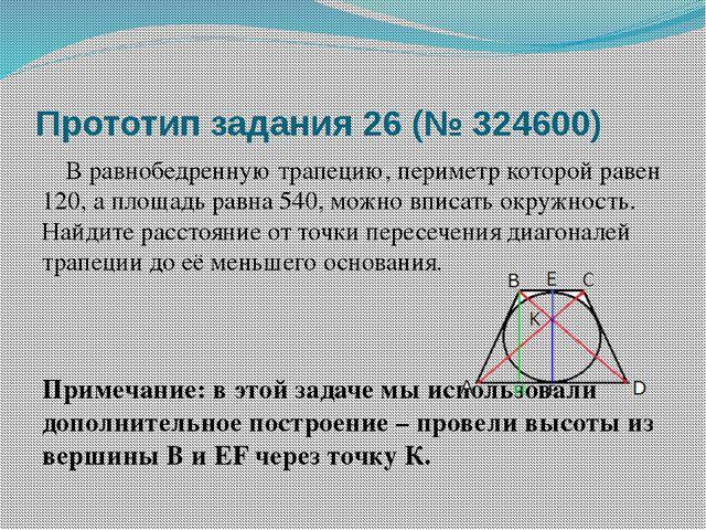 Прототип задания 26 (№ 324600)  В равнобедренную трапецию, периметр которой...