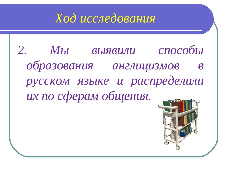 Ход исследования 2. Мы выявили способы образования англицизмов в русском язык...
