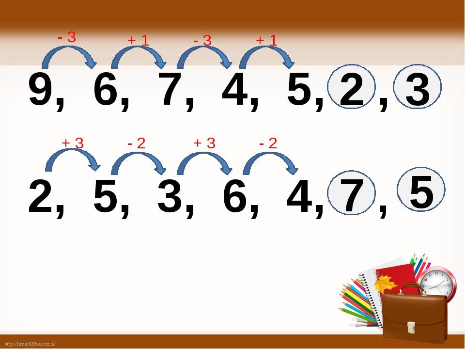 9, 6, 7, 4, 5, , 2, 5, 3, 6, 4, , 2 3 5 7 - 3 + 1 - 3 + 1 + 3 - 2 + 3 - 2 ht...