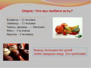 Опрос: Что вы любите есть? Конфеты – 12 человек Лимонад - 15 человек Чипсы, о