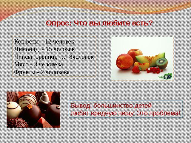 Опрос: Что вы любите есть? Конфеты – 12 человек Лимонад - 15 человек Чипсы, о...