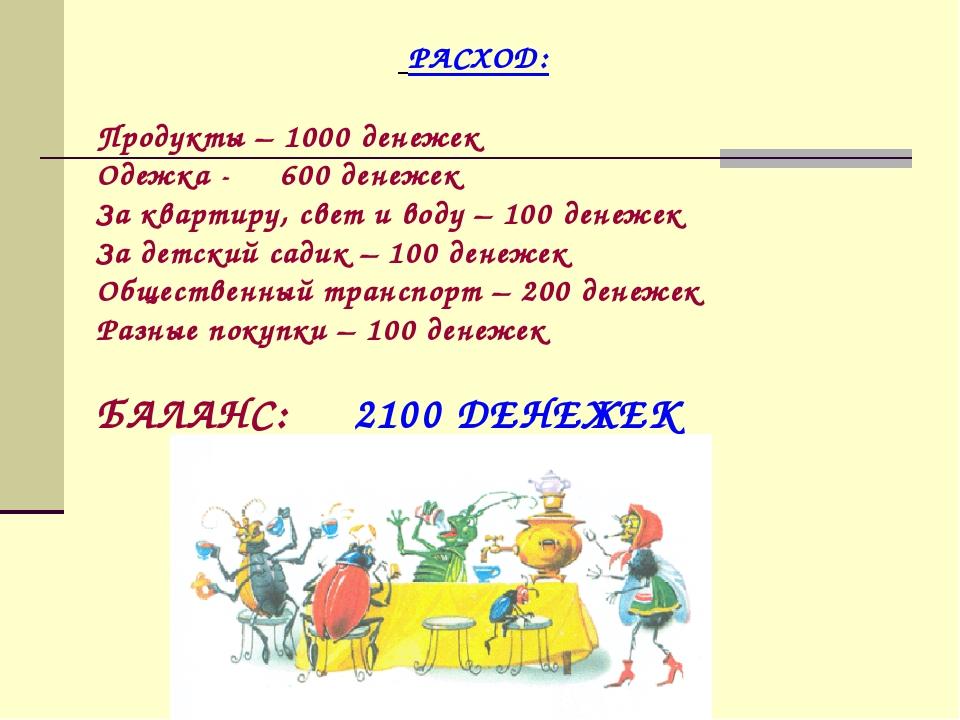 РАСХОД: Продукты – 1000 денежек Одежка - 600 денежек За квартиру, свет и вод...