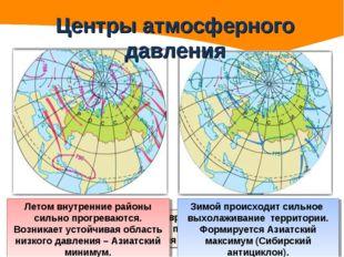 Центры атмосферного давления Огромные размеры материка Евразия, удаленность в