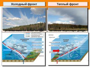 Холодный фронт образуется при подтекании холодных масс под теплые. Возникают