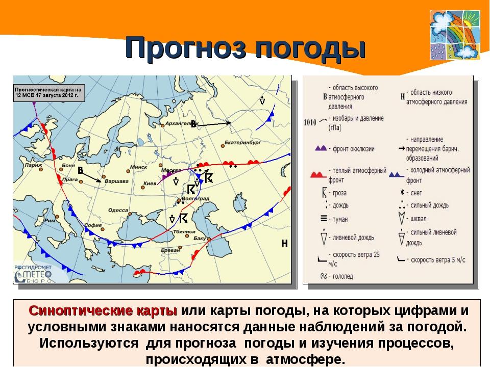Прогноз погоды Синоптические карты или карты погоды, на которых цифрами и усл...