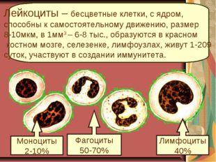 Фагоциты 50-70% Лимфоциты 40% Моноциты 2-10% Лейкоциты – бесцветные клетки, с