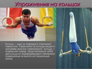 Кольца— один из снарядов в спортивной гимнастике. Упражнения на кольцах вход