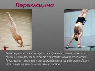 Перекладина или турник— один из снарядов в спортивной гимнастике. Упражнения